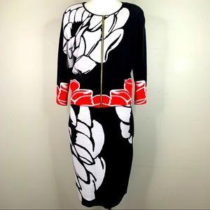 Escada size L black floral knit dress jacket set